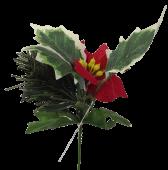 17cm Poinsettia Pick With Berries
