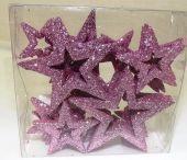 Glitter Stars Open Assorted Sizes Pink