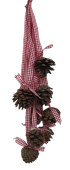 9 Pine Cone Hanger Red Natural Ribbon 35cm