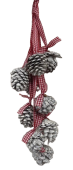 9 Pine Cone Hanger Red White Wash Ribbon 35cm