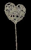 Glittered Heart Wand White/Iridescent 7 x 30cm