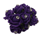 Diamante Mini Foam Rose App 2cm x 12 Stems Purple