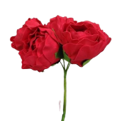 Small Peony x 6 Heads ColourFast Red