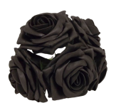 Large Cottage Foam Rose 8cm x 5 heads Black