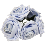 Large Cottage Foam Rose 8cm x 5 Heads Baby Blue
