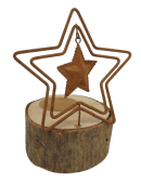 """1 Metal/Wood Candle Holder """"Star"""" Rust D9.5X15Cm"""