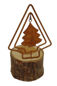 """1 Metal/Wood Candle Holder """"Tree"""" Rust D9.5X15Cm"""