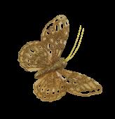 7cm Glitter Butterflies (12 Per Pack On 20cm Wire) Gold