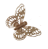 7cm Glitter Butterflies (12 Per Pack On 20cm Wire) Rose Gold
