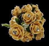Diamante Mini Foam Rose App 2cm x 12 Stems Gold