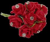 Diamante Mini Foam Rose App 2cm x 12 Stems Red