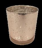 Glass Medium Rose Quartz Candle Holder 7 x 9cm