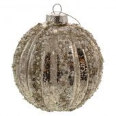 10cm Pearl Sequin Ribbed Ball Champagne