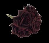 27cm Bordeaux Open Rose Posy x 5 Heads