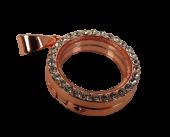 Rhinestone Circle Charm 2.5cm Rose Gold