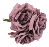 27cm Open Rose x 5 Heads Posy Grey