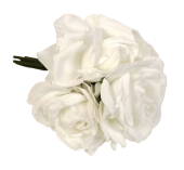 27cm Open Rose x 5 Heads Posy White