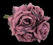 27cm Open Rose x 5 Heads Posy Mauve