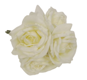 27cm Open Rose x 5 Heads Posy Cream