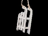 Pb. 4 Wooden Sledges/Hanging, White, 9 Cm