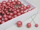 W/B. 100 Glitterballs/Wire, Coral Dust, 20/30/40 Mm