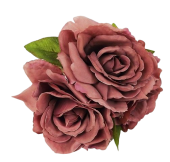 24cm Open Rose Posy x 3 Heads Puce