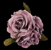 24cm Open Rose Posy x 3 Heads Grey