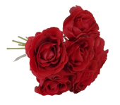 26cm Open Rose x 7 Heads Red