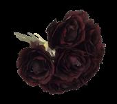 26cm Open Rose x 7 Heads Bordeaux