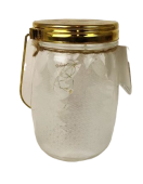 LED Medium Glass Jar W/Gold Lid