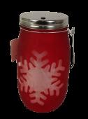 Large Red Snowflake LED Jar