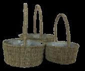 Seagrass Set Of 3 Baskets Round