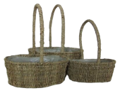 Seagrass Set Of 3 Baskets Oval