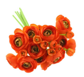 28cm Ranunculus Bundle Green/Orange