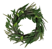Mixed Foliage Wreath 45cm Green