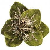 18cm Velvet Sequin Flower Clip Green