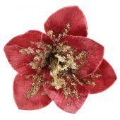 18cm Velvet Sequin Flower Clip Pink