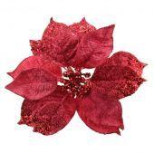 18cm Glittered Poinsettia Head Pink