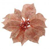 17cm Glittered Poinsettia Head Pink