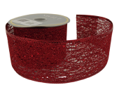 """10y x 2.5"""" Mesh/Sequin Ribbon Red"""