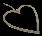 Raw Nickel Finish Heart 40cm