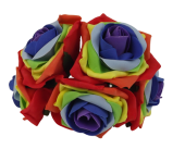 Large Colourfast Foam Rose App 8cm x 5 Heads Rainbow