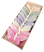 10cm Pastel Sparkle Feather Butterflies Assorted x 12