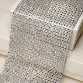Plastic Diamanté Effect 24 Row Band Silver (9yds)