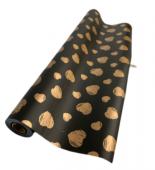 Black/Gold Heart Deluxe Cello Wrap 60cm x 25mts