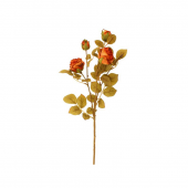 64cm Dried Look Cabbage Rose Spray Orange