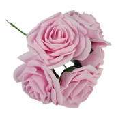 Large Cottage Foam Rose 8cm x 5 Heads Bright Baby Pink