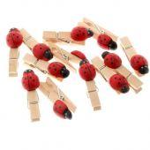 2.5cm Wooden Pegs W/Ladybirds x 50pcs