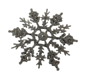 10cm Glitter Snowflake x24 Boxed Silver