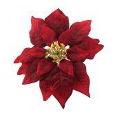 24cm Velvet Poinsettia Head on clip Red